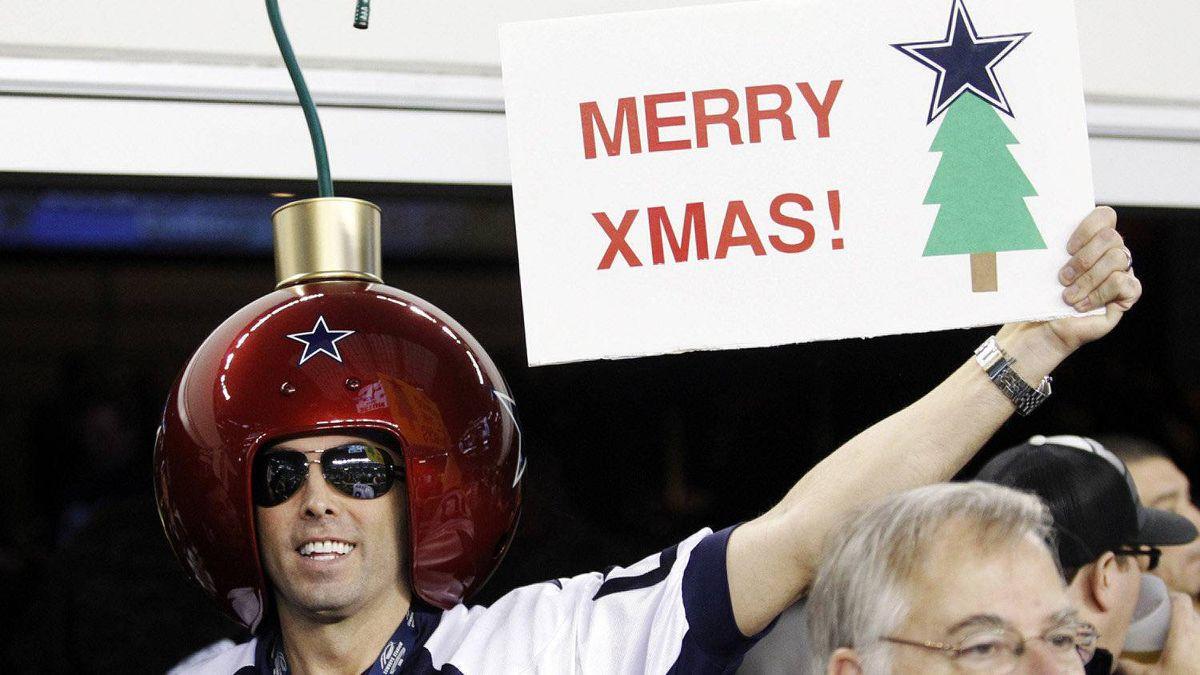 Greg Wilson shows his Christmas spirit during an NFL football game between the Philadelphia Eagles and Dallas Cowboys, Saturday, Dec. 24, 2011, in Arlington, Texas.
