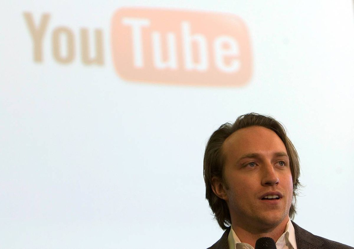 YouTube CEO and co-founder Hurley attends a ceremony launching Israel's President Peres' YouTube channel at the president's residence in Jerusalem
