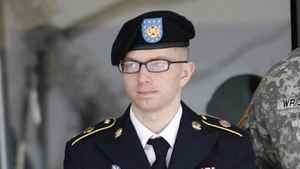 In this March 15, 2012 photo, army Pfc. Bradley Manning leaves the courthouse after his motion hearing at Fort Meade in Maryland March 15, 2012.