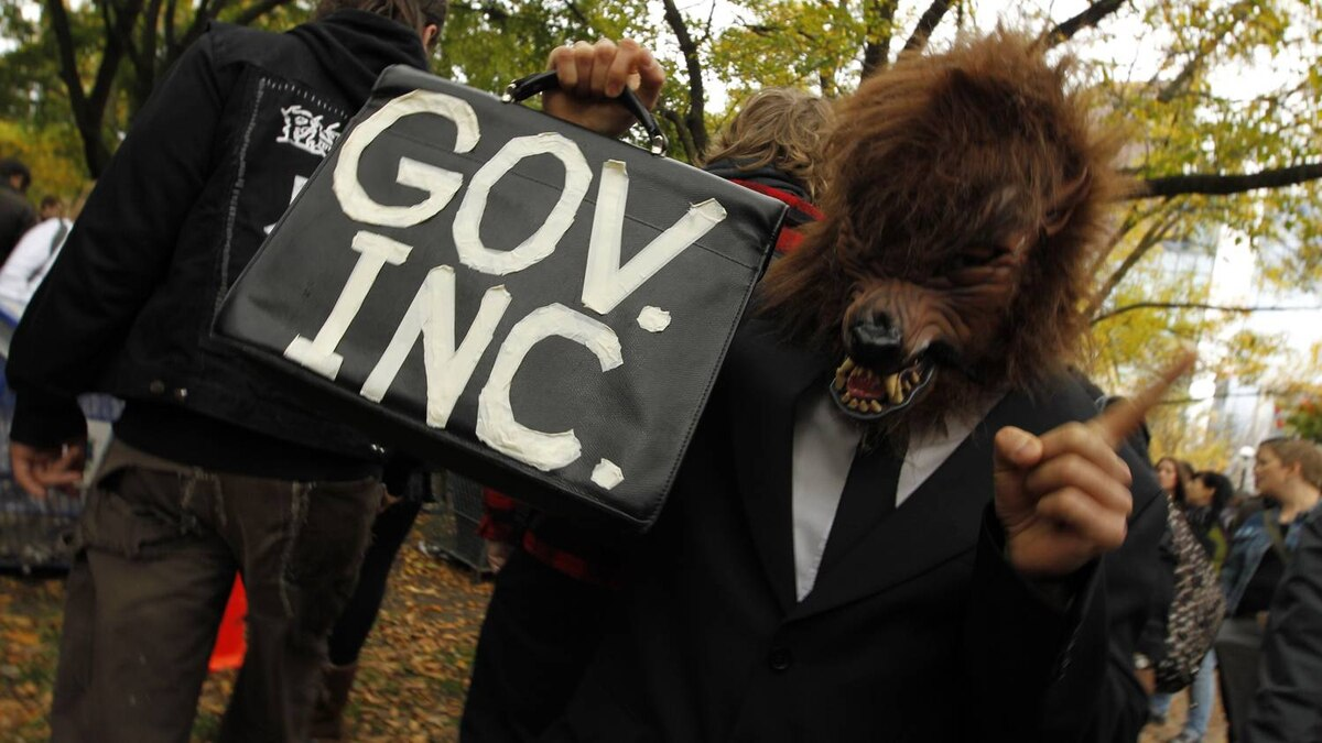 A protester gets creative at the Occupy Toronto protests on October 15, 2011.