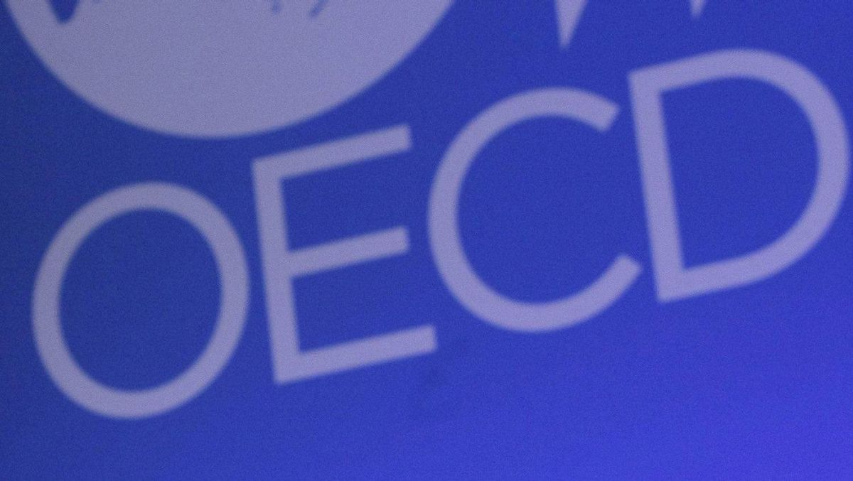 "The OECD logo as shown during the opening session ""Outlook Debate"" to a 50th anniversary Ministerial Council Meeting 2011 at the OECD, in Paris, Wednesday, May 25, 2011."