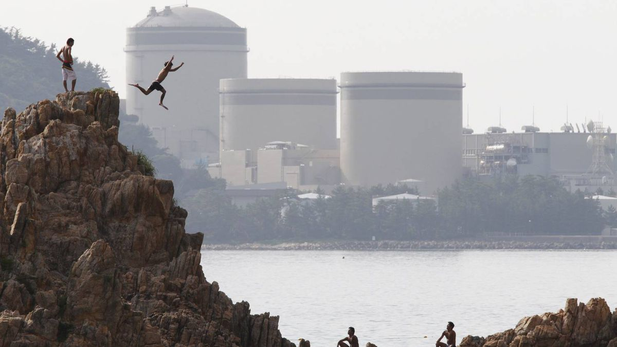 A man on vacation dives into the sea as Kansai Electric Power Co.'s Mihama nuclear power plant is seen in the background in Mihama town, Fukui prefecture, July 2, 2011.