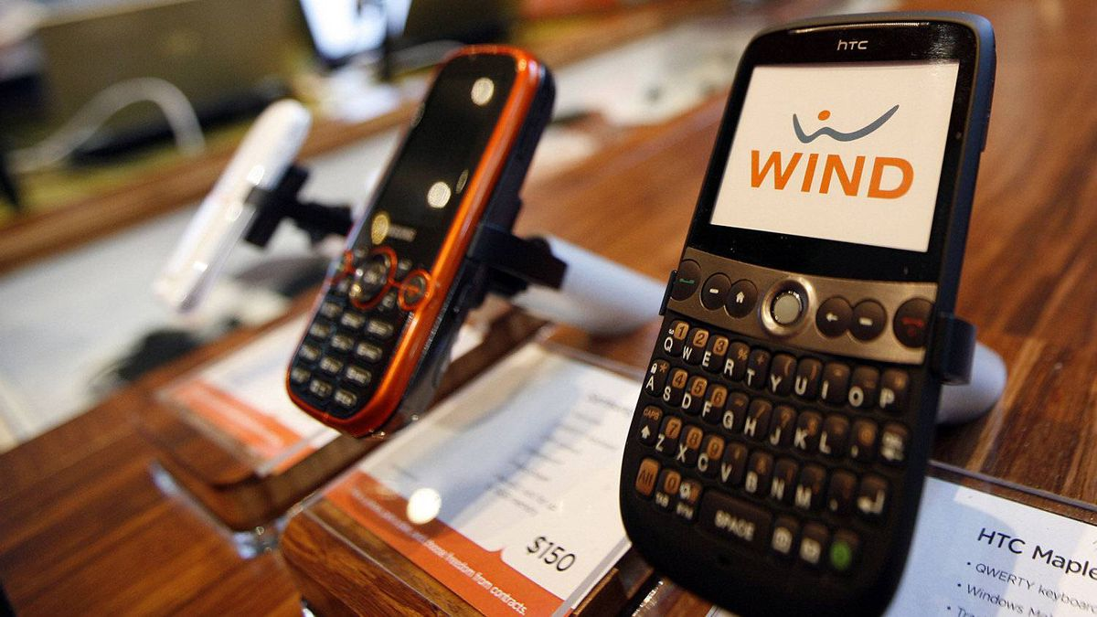 Wind Mobile phones are on display at the first Wind store to open at 207 Queen's Quay West in Toronto.