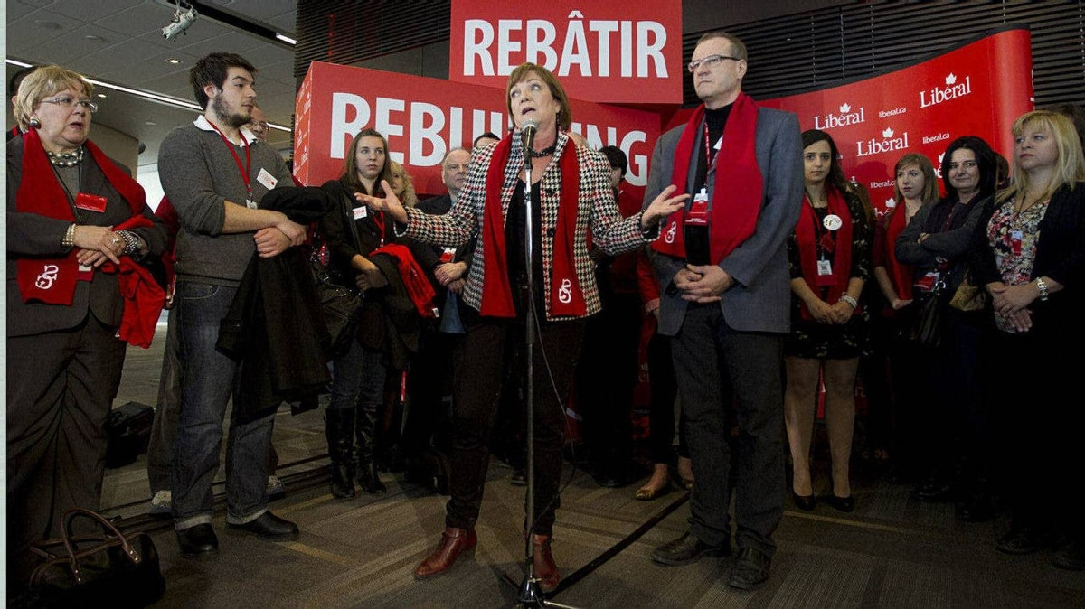Liberal party presidential candidate, Sheila Copps, answers questions on day two of the Liberal Convention in Ottawa. She joked that life was okay, and that her sex life is pretty good.