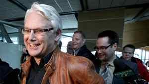 British Columbia Premier Gordon Campbell jokes with the media.