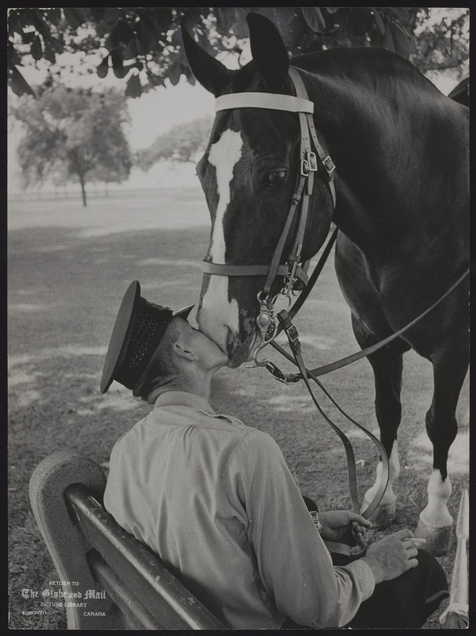PICTURE AWARDS A policeman kissed his horse at CNE and Globe and Mail ' s Fred Ross wins feature photo award.