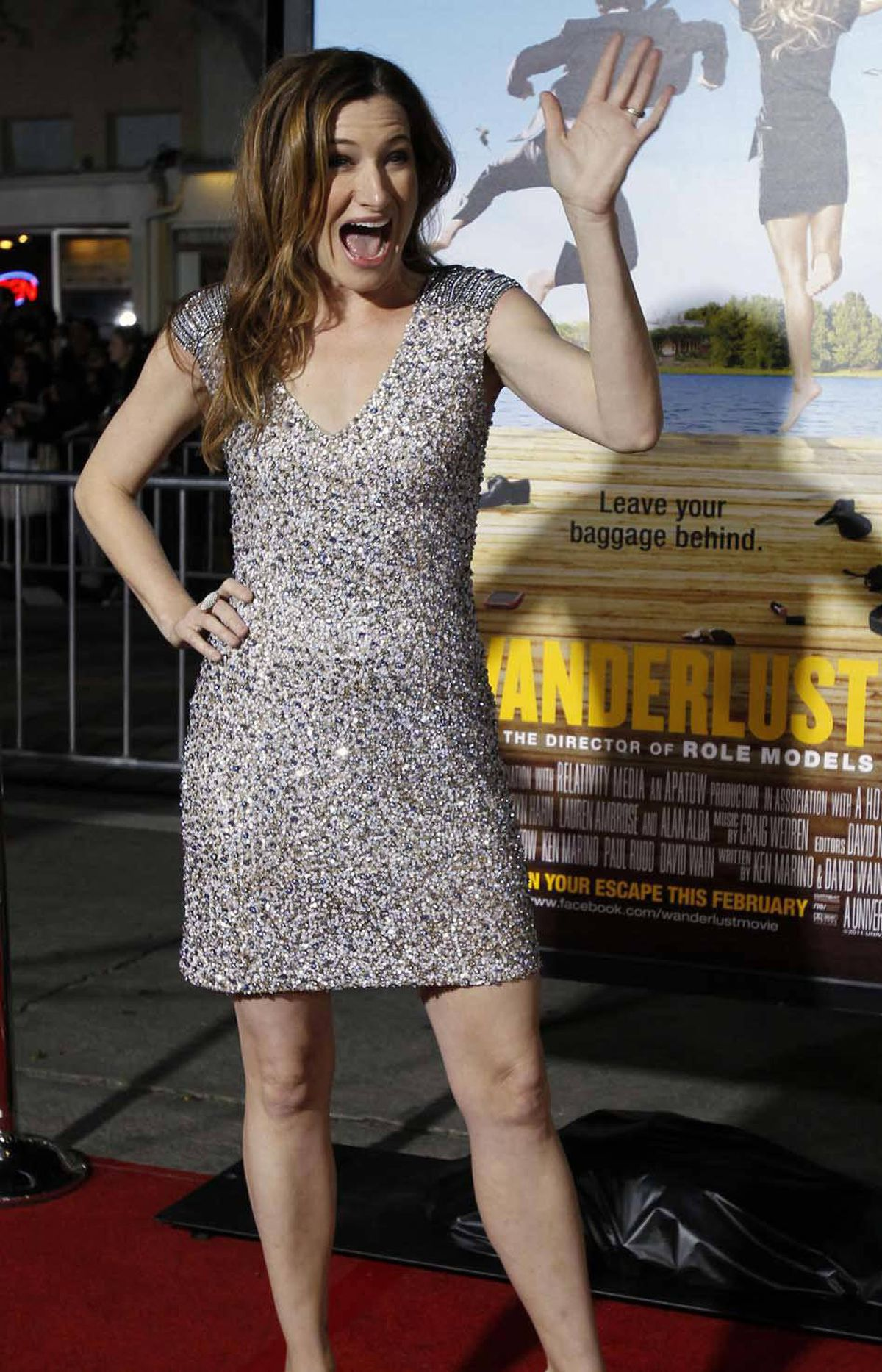 """This is how I would do the introverted owner of a travel bookstore in London who has just been told by a gorgeous American movie star that she is just a girl, asking a boy, to love her,"" Kathryn Hahn says at the premiere of ""Wanderlust"" in Los Angeles last week."