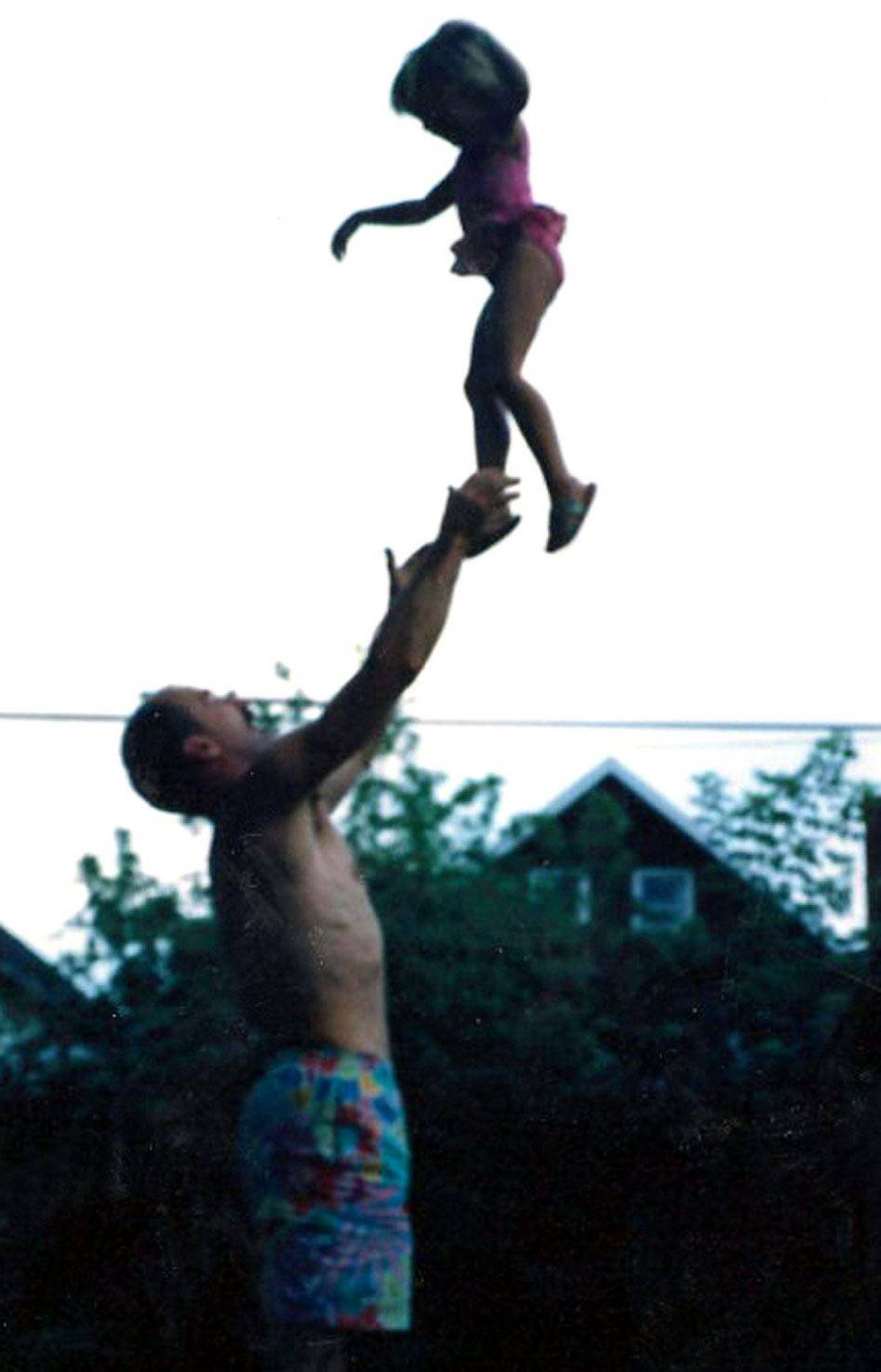 When I was a little girl my dad used to toss me up in the air or let me jump off of the fridge into his arms - As my feet hit the ground I would beg him to let me do it again. It was such a rush!