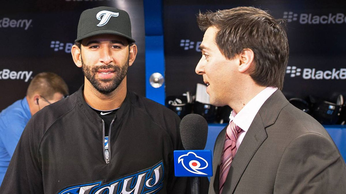 Jose Bautista #19 of the Toronto Blue Jays is interviewed prior to the home opener for the Toronto Blue Jays as they face the Minnesota Twins during their MLB game at the Rogers Centre April 1, 2011 in Toronto, Ontario, Canada.(Photo By Dave Sandford/Getty Images)