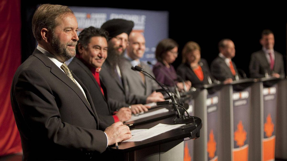 NDP federal leadership candidate Thomas Mulcair, left, responds to a question during an NDP leadership debate in Halifax Sunday January 29, 2012. To Mulcair's left are fellow candidates Romeo Saganash, Martin Singh, Nathan Cullen, Niki Ashton, Peggy Nash, Brian Topp and Paul Dewar. This was the second of six travelling debates before a new party leader is chosen on March 24 at a party convention in Toronto.