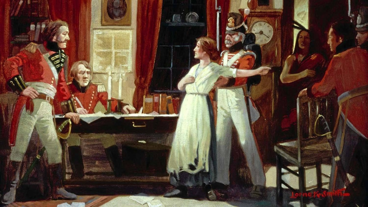 Painting of Laura Secord being brought to see Lieutenant Fitzgibbon by a Mohawk warrior, to warn the British of an impending American attack featured in The War of 1812.
