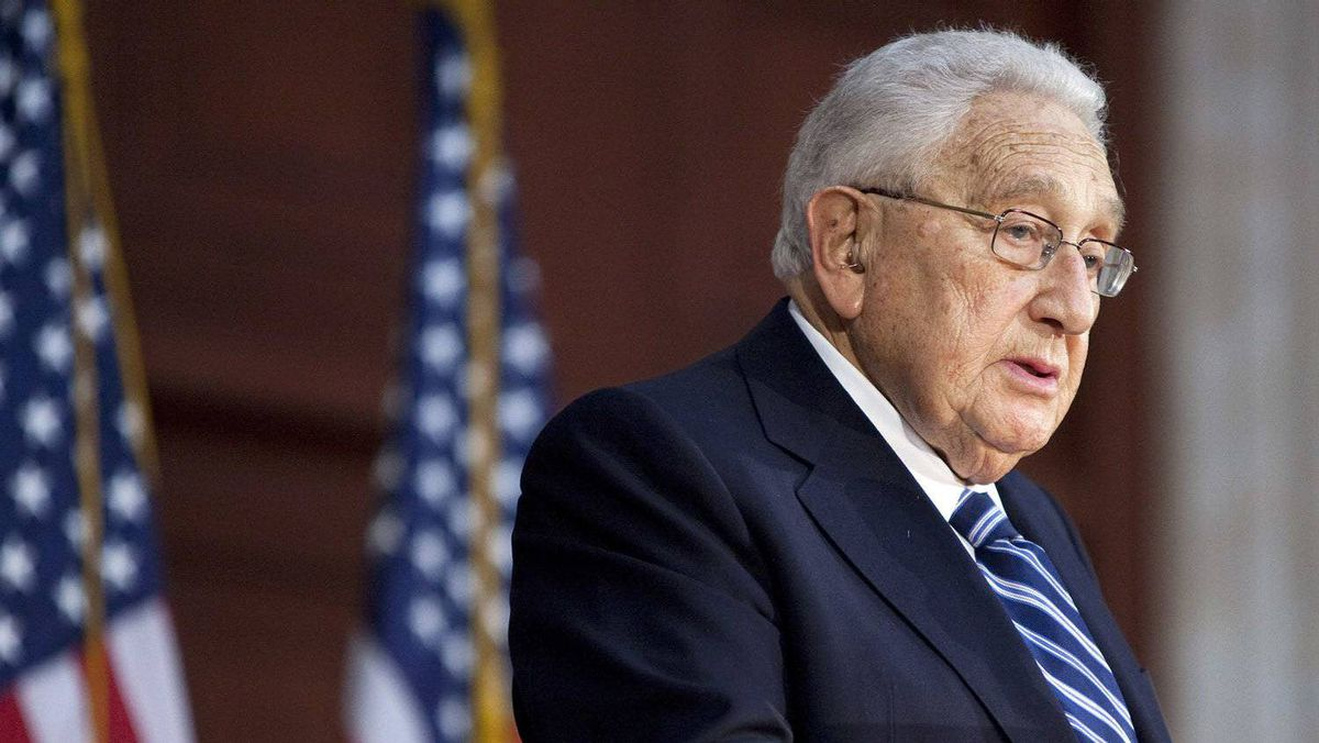 Former U.S. Secretary of State Henry Kissinger speaks during a ceremony unveiling a statue of former U.S. president Gerald Ford in the Rotunda of the U.S. Capitol in Washington.
