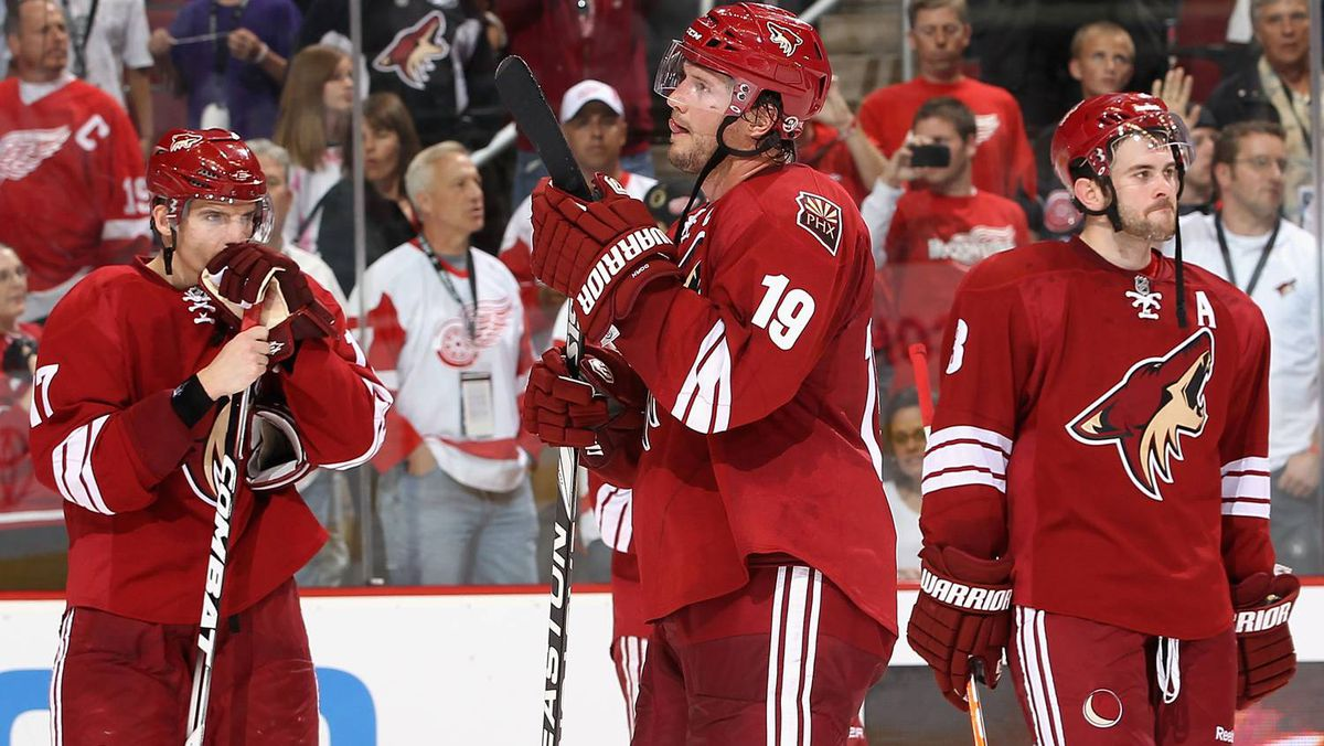 Radim Vrbata, left, Shane Doan and Keith Yandle of the Phoenix Coyotes react after being defeated by the Detroit Red Wings in Game 4.