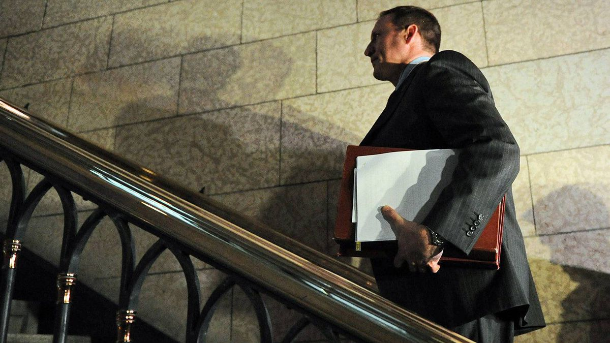 Defence Minister Peter MacKay leaves the foyer of the House of Commons after Question Period on Oct. 24, 2011.