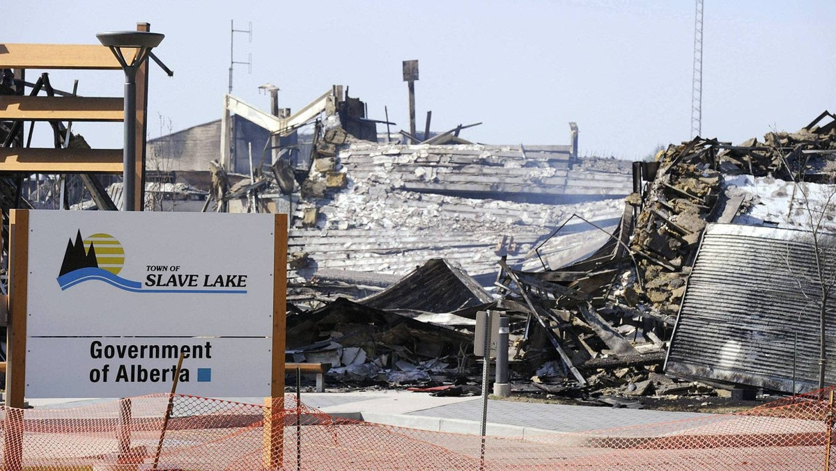 The new town office lies in ruins after it burnt down in Slave Lake, Alberta May 16, 2011.
