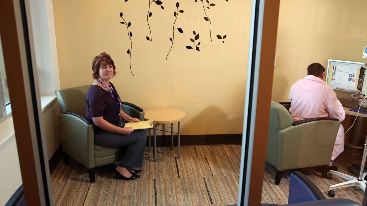 Vancouver Island Health Authority's Project Director Robyne Maxell in the Collabration Centre's internet room inside the Royal Jubilee Hospital in Victoria, B.C.