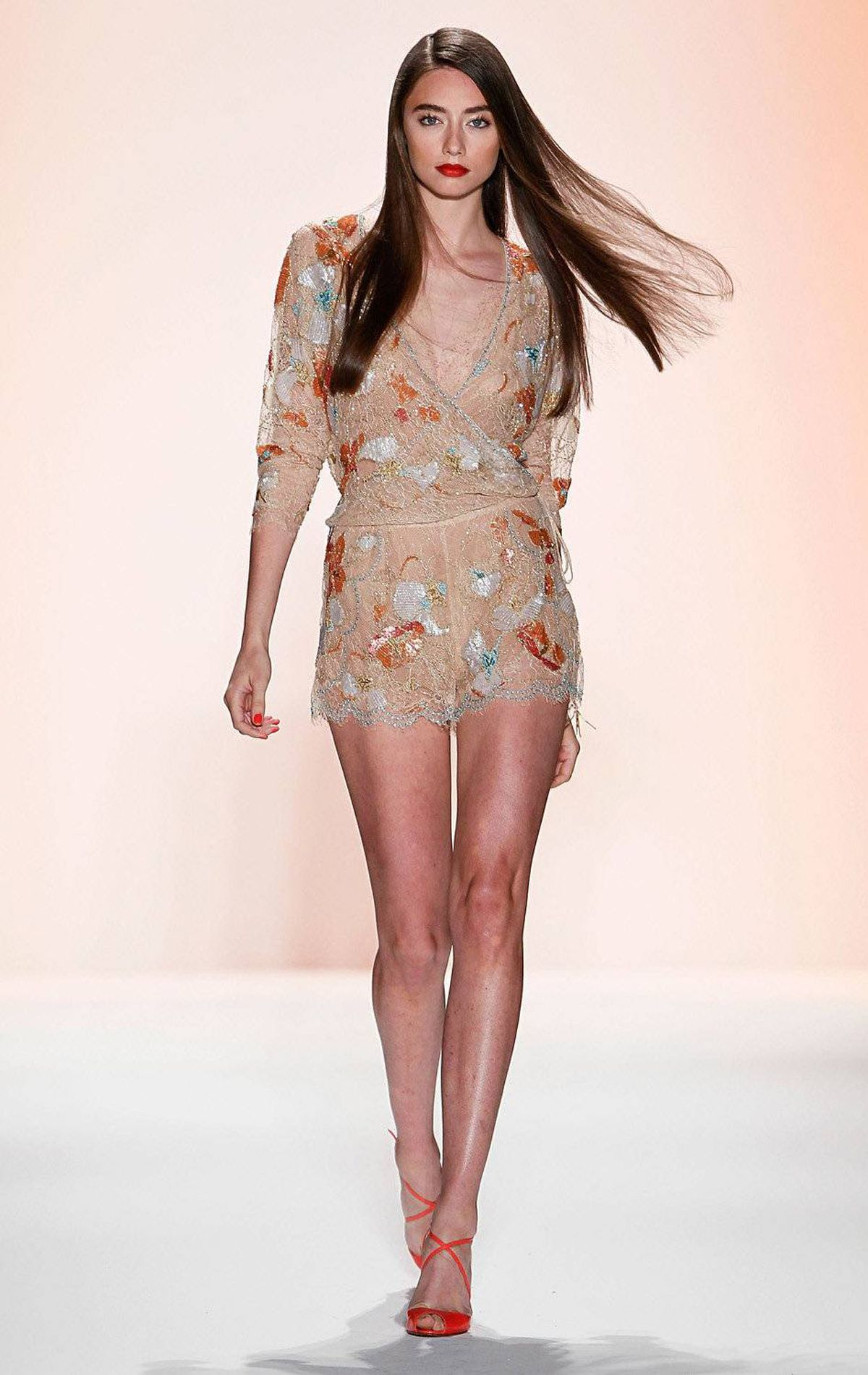 A model walks the runway at the Jenny Packham Spring 2012 fashion show during Mercedes-Benz Fashion Week at the Studio at Lincoln Center on September 12, 2011 in New York.