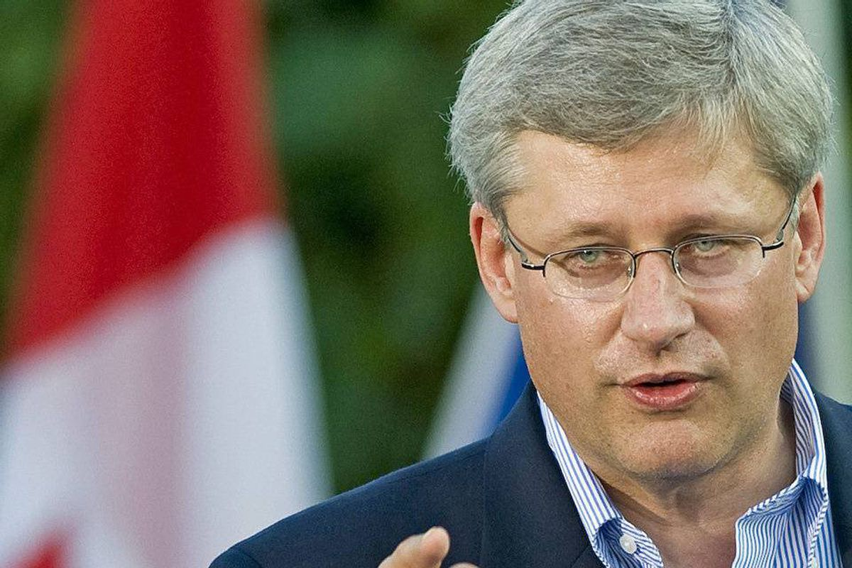 Prime Minister Stephen Harper speaks to supporters at a Conservative rally in Montreal on Sept. 1, 2010.