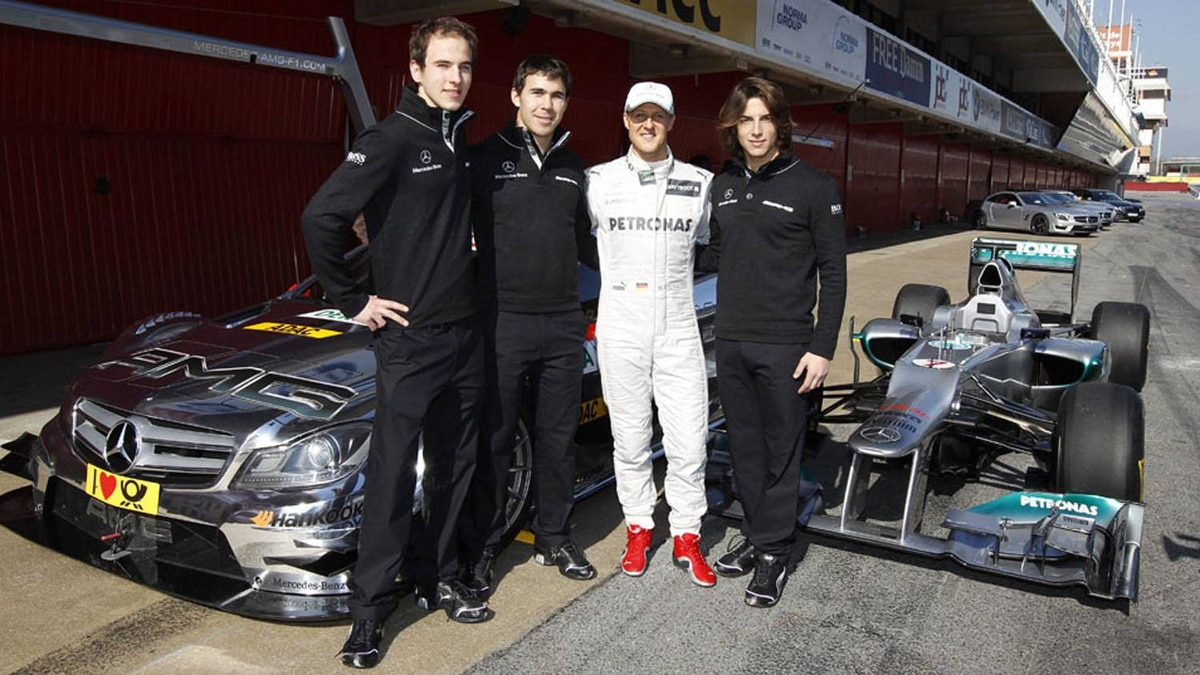 Michael Schumacher, who drives for the Mercedes F1 team, is on board as a role model and mentor to the Junior Team. Pictured: Christian Vietoris, Robert Wickens, Michael Schumacher and Roberto Merhi.