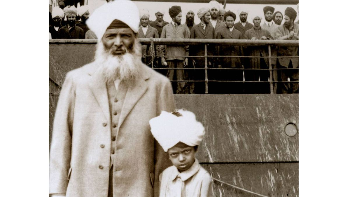 This 1914 photo shows Sikh refugees turned away by the Canadian government.