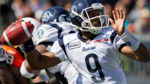 Toronto Argonauts' quarterback Steven Jyles passes against the B.C. Lions during the first half of a CFL football game in Vancouver, B.C., on Saturday September 10, 2011. THE CANADIAN PRESS/Darryl Dyck