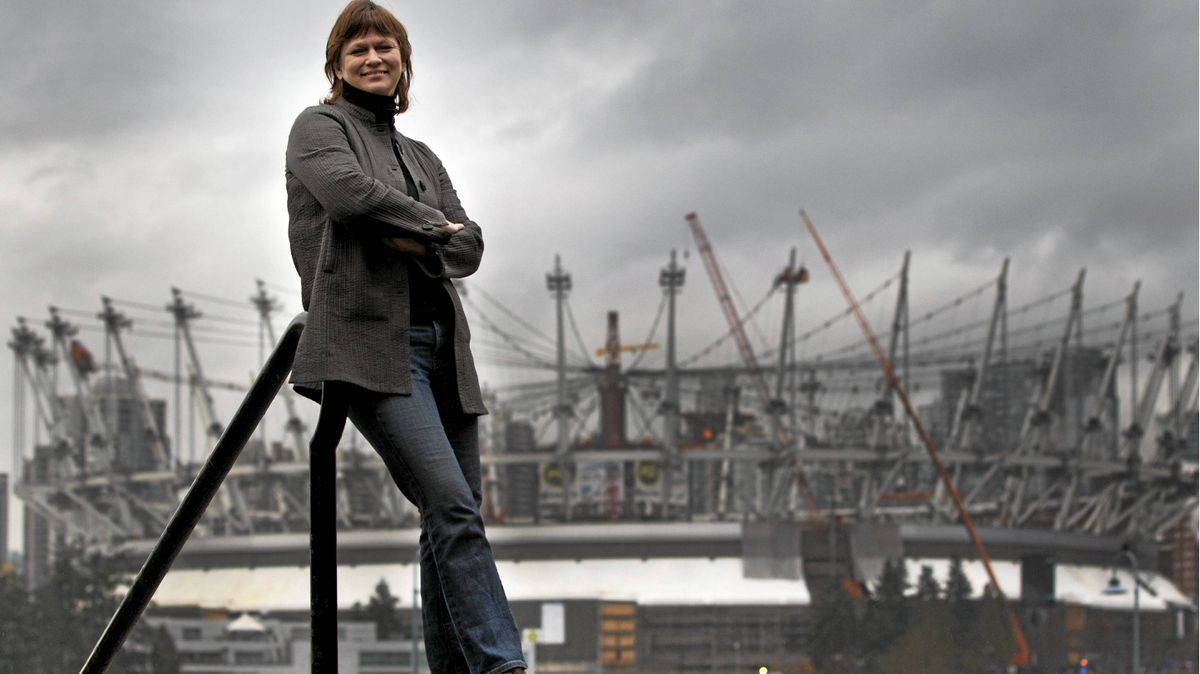 """Sandy Garossino who is part of the coalition """"Vancouver, Not Vegas"""" seen seen here in Vancouver Feb, 14, 2011with the new BC Place Stadium in the background where the new casino could go."""