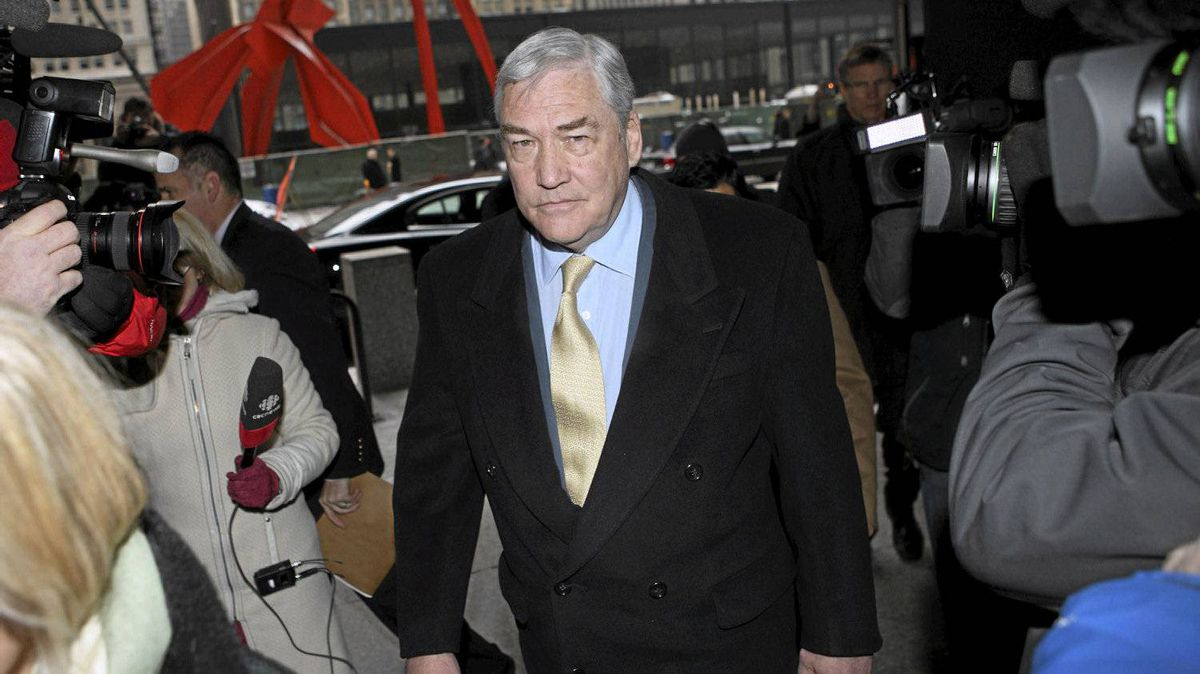 Conrad Black arrives at the Federal Courthouse in Chicago for a status hearing, January 13, 2011.