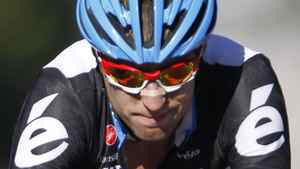 Team Garmin-Cervelo rider Ryder Hesjedal of Canada reacts as he crosses the finish line during the Grand Prix de Quebec ProTour cycling race in Quebec City, September 9, 2011. REUTERS/Mathieu Belanger