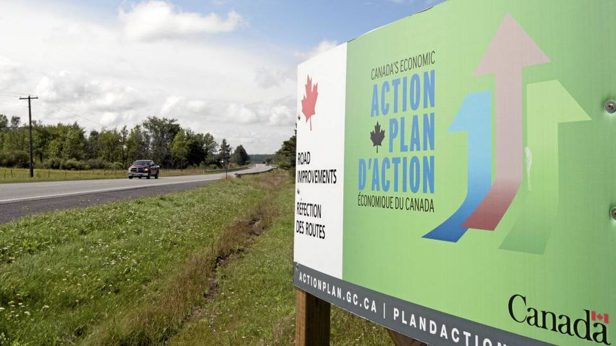 A government action plan sign is seen along theroad near Mississippi Mills, Ont., Monday August 23, 2010.