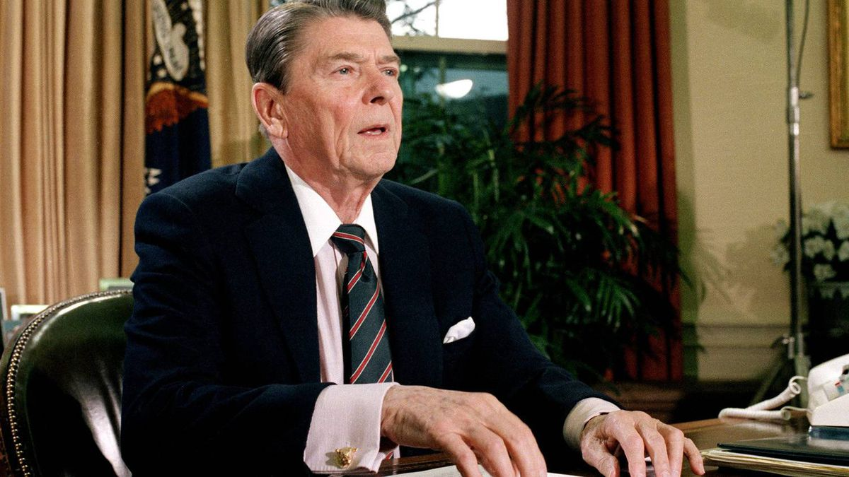 This Jan. 28, 1986 file picture shows U.S. President Ronald Reagan in the Oval Office of the White House after a televised address to the nation about the space shuttle Challenger explosion.