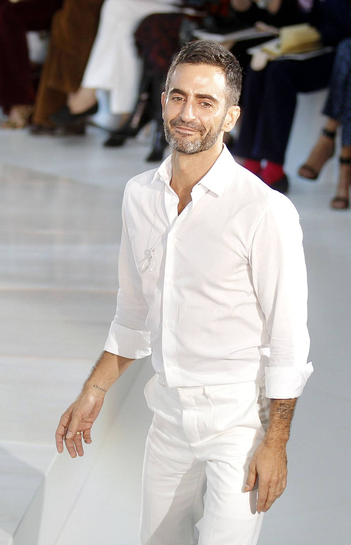 Meanwhile Marc Jacobs appeared entirely in white, a departure from his preferred black kilt. The fashion industry pegs Jacobs as the most likely successor to the Dior throne, which would force him to depart Louis Vuitton (both brands are owned by LVMH). With this collection, he proved ready for couture.