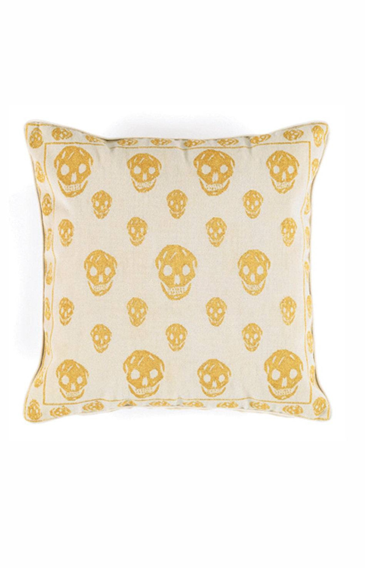 Alexander McQueen Skull pillow in Gold, $709 at Avenue Road.