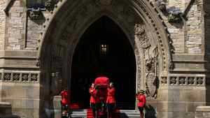 August 25, 2011: Members of the RMCP carry the casket of NDP leader Jack Layton to a waiting hearse on Parliament Hill in Ottawa.
