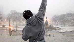 "Sylvester Stallone's iconic Rocky character memorably sported a hooded sweatshirt in the 1976 film ""Rocky."""