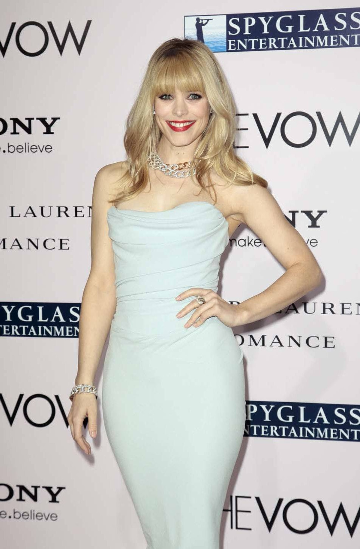 """Rachel McAdams goes with seafoam at the premiere of """"The Vow"""" in Hollywood on Monday."""