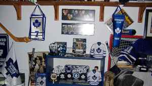 Some of the memorabilia belonging to PropertyGuys co-founder Ken Some of the memorabilia belonging to PropertyGuys co-founder Ken LeBlanc carefully displayed in the sports memorabilia room in his home, including souvenir banners, autographed pucks, mini jerseys and photographs. Much of the collection focuses on his favourite team, The Toronto Maple Leafs, and two of his favourite players, former Edmonton Oilers and Los Angeles Kings all-star Wayne Gretzky and current Pittsburgh Penguins captain Sidney Crosby.