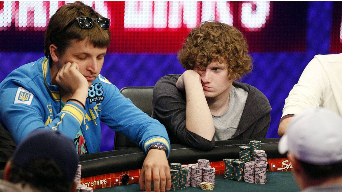 Anton Makiievskyi, of the Ukraine, left, Samuel Holden, of the United Kingdom, compete in the main event at the World Series of Poker Tuesday, July 19, 2011, in Las Vegas.