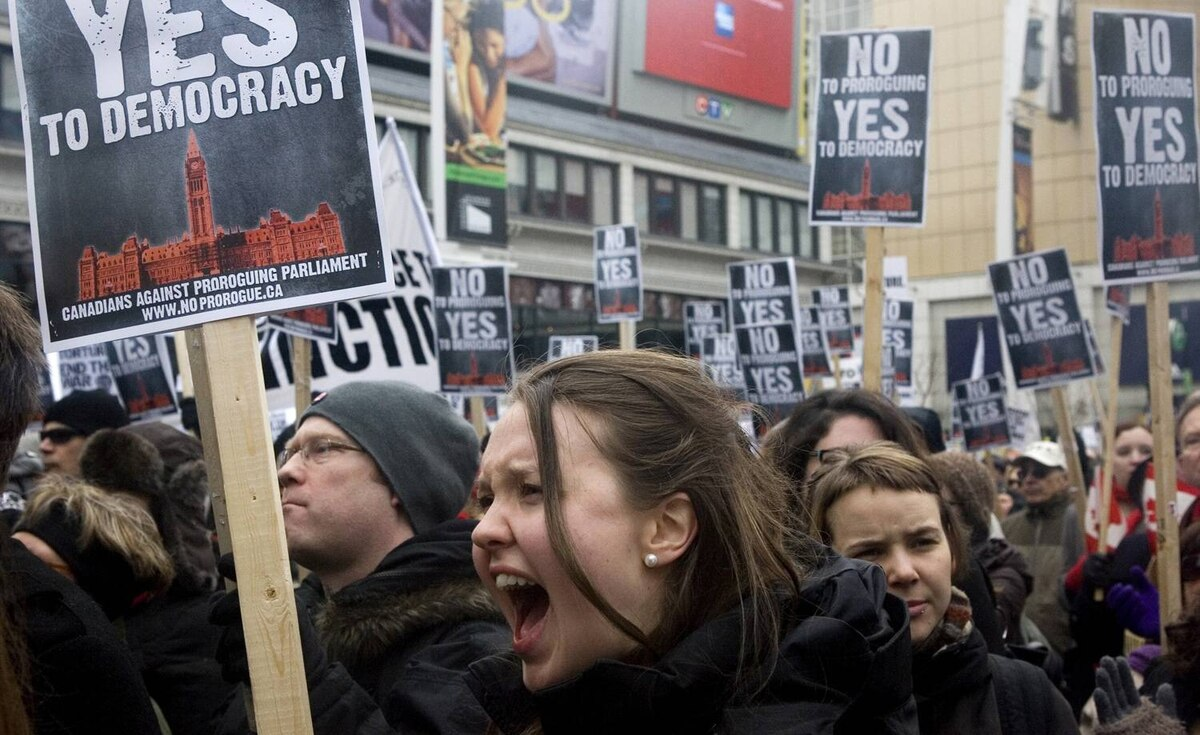 Protesters march against Prime Minister Stephen Harper's prorogation of Parliament in Toronto on Saturday Jan. 23, 2010.