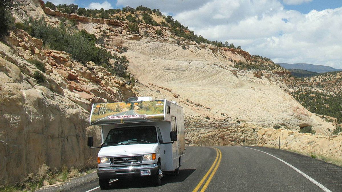 Two Class C motor homes pass each other on Route 12, south of Capitol Reef National Park in Utah in June, 2006.