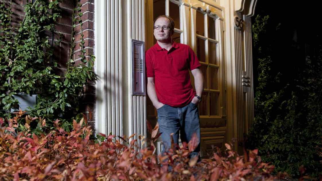 Wojtek Sawicki poses for a photograph at his home in Etobicoke on Tuesday, November 15, 2011.