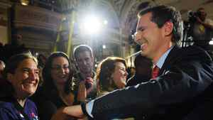 Liberal leader Dalton McGuinty shakes hands with supporters as he leaves election night headquarters in Ottawa, Thursday October 6, 2011.