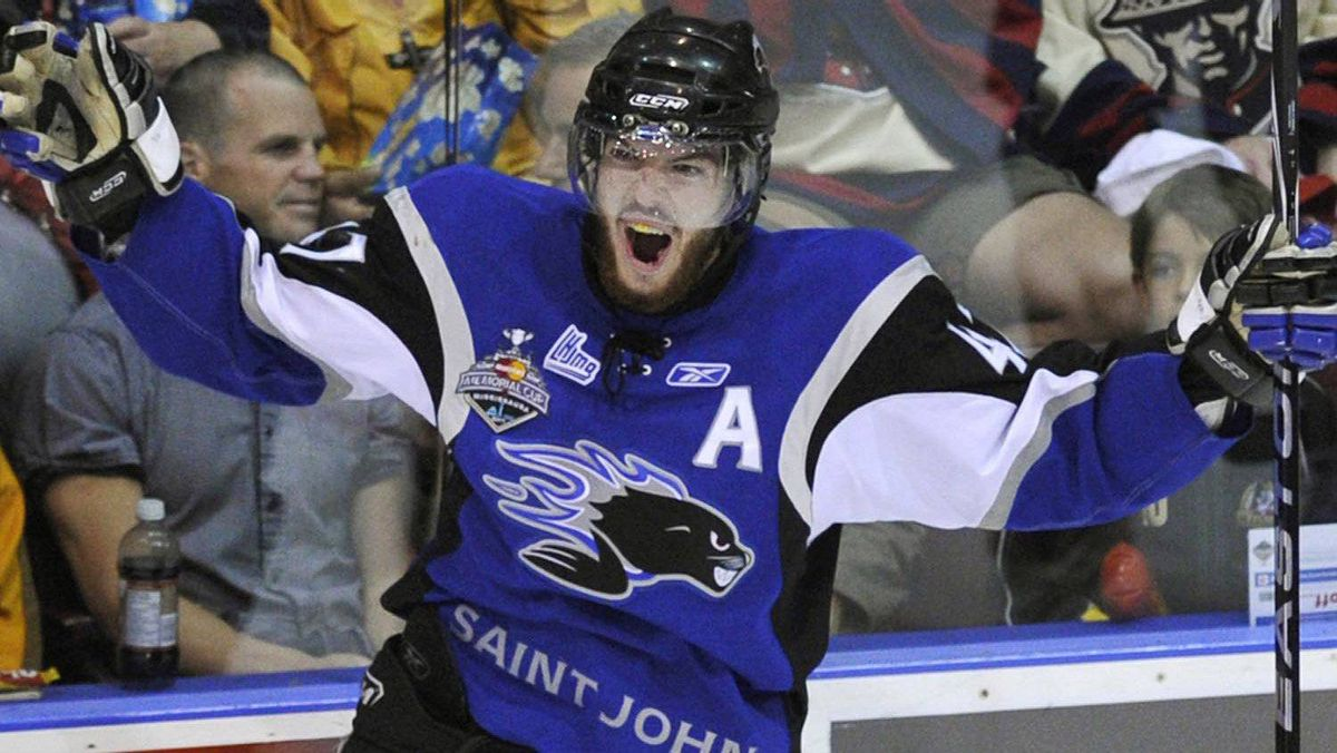 Saint John Sea Dogs defenceman Simon Despres celebrates his goal against the Mississauga St. Michaels Majors during the first period of their Memorial Cup final ice hockey game in Mississauga May 29, 2011. REUTERS/Mike Cassese