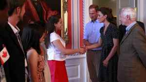 Britain's Prince William and his wife Catherine, Duchess of Cambridge along with Canada's Governor General Johnston take part in a youth reception at Rideau Hall in Ottawa