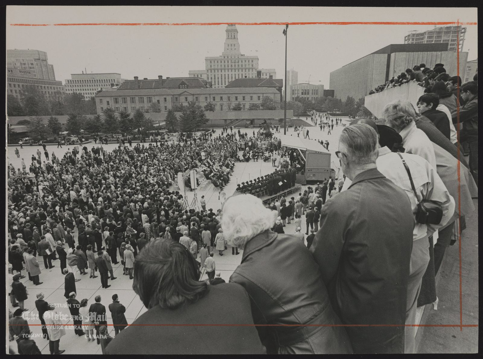 Pierre LAPORTE Montreal; Politician, killed by FLQ. Mourners in Nathen Phillips Square