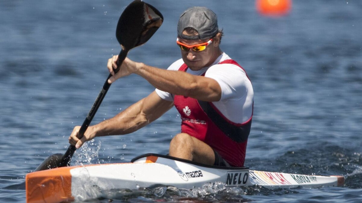 Canada's Adam van Koeverden celebrates after winning his K1 1000m heat at the 2009 ICF Canoe Sprint World Championships on Lake Banook in Dartmouth, N.S. on Friday Aug. 14, 2009.
