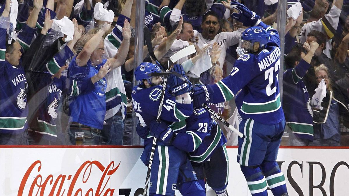 Vancouver Canucks Lapierre celebrates his goal on the Boston Bruins during the third period.