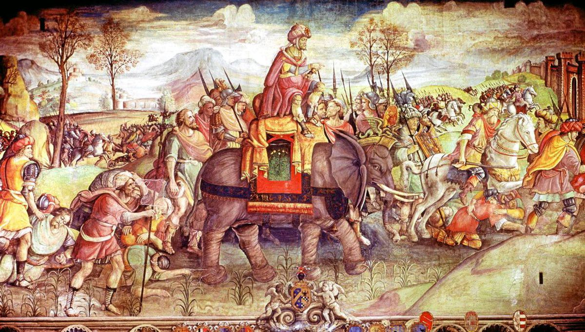 Hannibal and his army crossing the Alps with elephants.