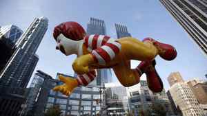 The Ronald McDonald balloon makes its way along the Macy's Thanksgiving Day Parade in New York