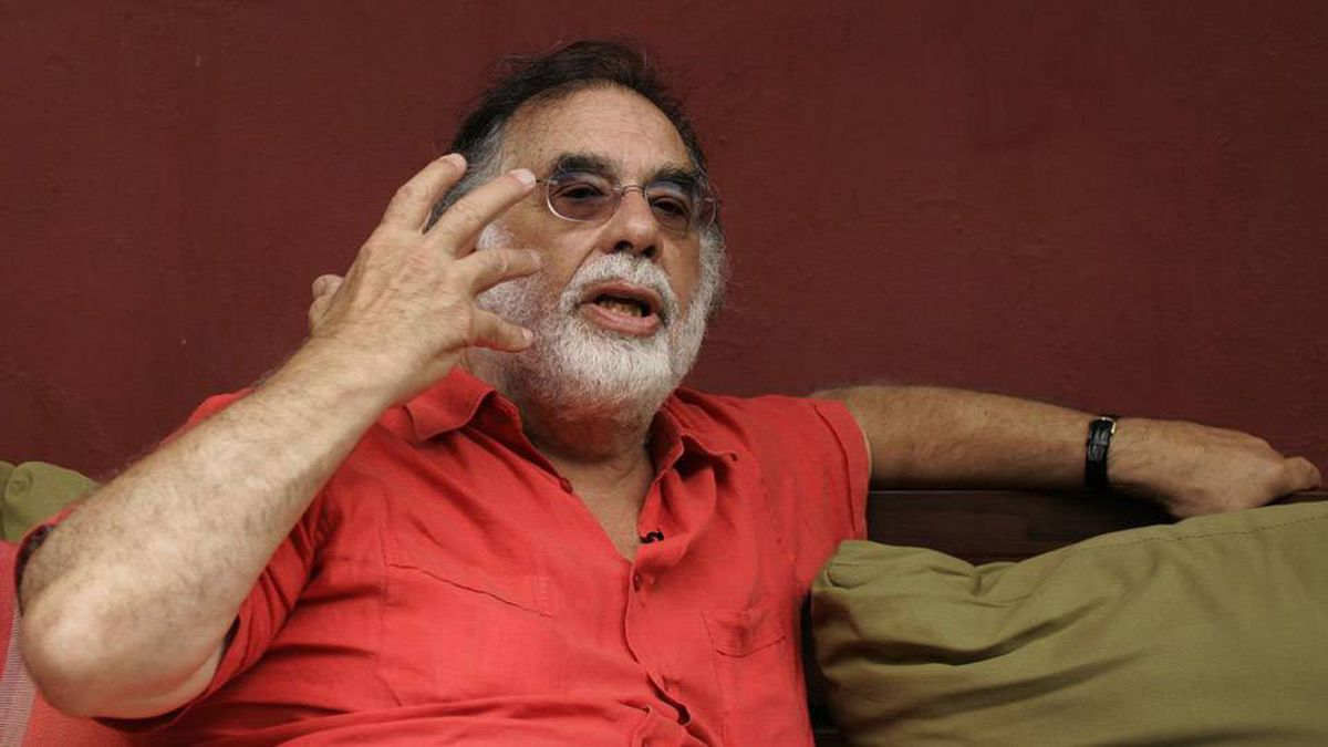 Francis Ford Coppola gestures during an interview in Buenos Aires, the setting for his film Tetro.