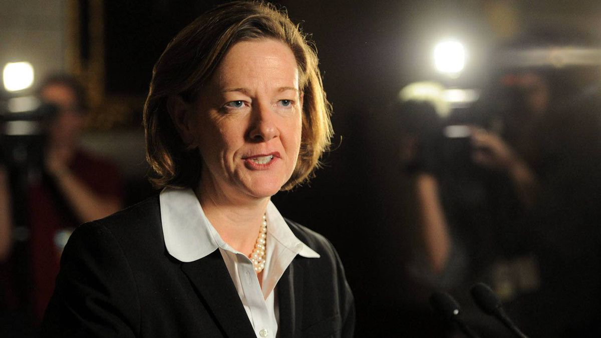 Alberta Premier Alison Redford speaks in Ottawa, on November 17, 2011. When Redford delivers her first budget in 2012, it won't be balanced, but she says it also won't be one her rivals can run on.